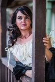 Saloon Girl Portrait — Stock Photo