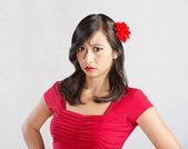 Annoyed Female in Red — Stock Photo