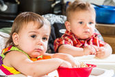 Babies Eat Breakfast — Stock Photo