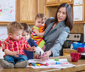 Mother Plays With Children — Stock Photo