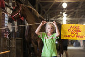 Girl with horse at state fair — Stock Photo