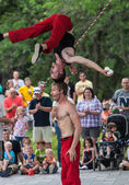 Acrobats at Iowa State Fair — Stock Photo