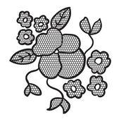Apliques de flores de encaje negro — Vector de stock