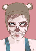 Maquillaje halloween. chica linda zombie. — Vector de stock