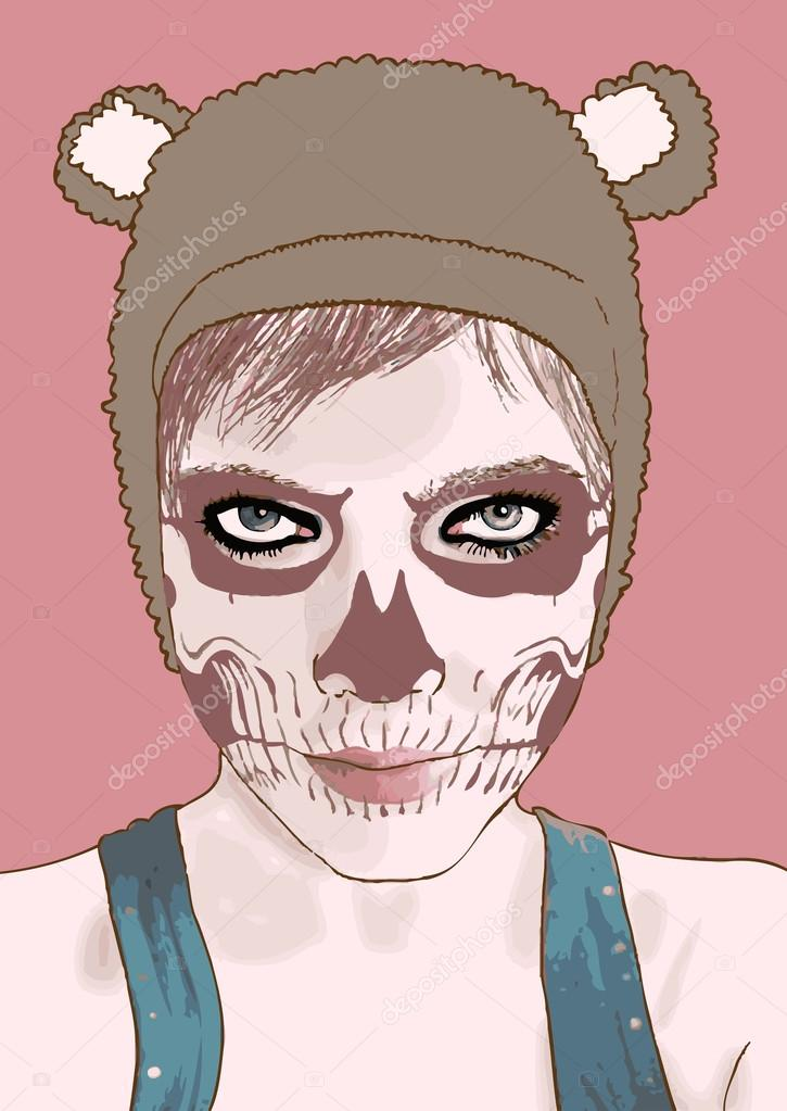 Halloween make up. Vector illustration.Cute zombie girl.  Stock Vector #12883542