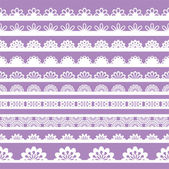 Set of beautiful lace vector trims — Stok Vektör