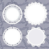 Set of round lacy doilies. — Stock Vector