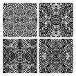 Stock Vector: Set of 4 monochrome modern seamless patterns
