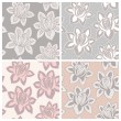 Set of four lace seamless patterns with flowers - Stock Vector