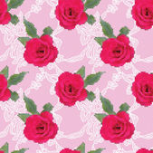 Fabric seamless pattern with embroidered roses and gentle lace — 图库矢量图片