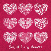 Set of heart applique on canvas background — Stock Vector