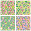 Set of four seamless pattern. — Stock Vector