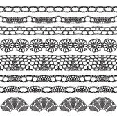 Set of beautiful lace vector trims — Stock Vector