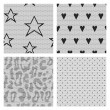 Set of black lace vector fabric seamless patterns. — Stock Vector