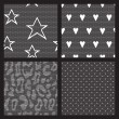 Set of lace vector fabric seamless patterns. — Stock Vector
