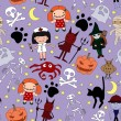 Halloween characters seamless pattern — Stock Vector #31639467