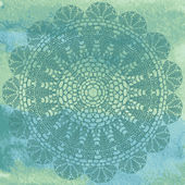 Elegant lacy doily on watercolor background — Stockvektor