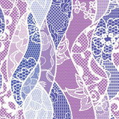 Lace vector fabric seamless pattern with lines and waves — Vetor de Stock