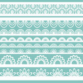 Lace ribbons vector fabric seamless pattern with hearts — Stock Vector