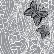 Seamless lacy pattern with flowers and butterflies. Vector illustration. — Stock Vector