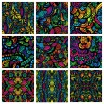 Set of nine hand-drawn seamless patterns — Stock Vector