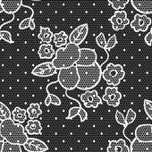 Lace vector fabric seamless pattern with flowers — Stock Vector
