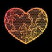 кружева сердце градиента аппликация. — Cтоковый вектор