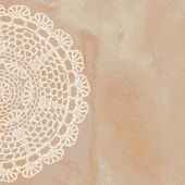 Elegant lacy doily on watercolor background — Stock Vector