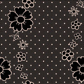 Black lace fabric seamless pattern with flowers — Stock Vector
