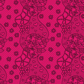 Pink lace vector fabric seamless pattern with flowers — Stock Vector