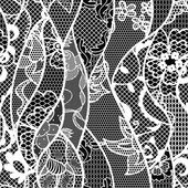 Lace vector fabric seamless pattern with lines and waves — Stock Vector