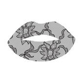 Black lacy lips applique. — Stock Vector