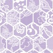 Blue lace vector fabric seamless pattern. Honeycomb mesh. — ベクター素材ストック