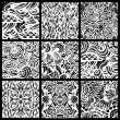 Hand-drawn seamless patterns may be used as background. — Stock Vector