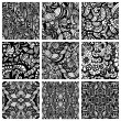 Hand-drawn seamless patterns may be used as background. — Image vectorielle