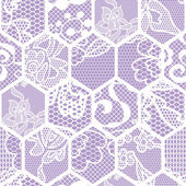 Blue lace vector fabric seamless pattern. Honeycomb mesh. — Stock Vector