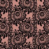 Vzor bezešvé krajky s květinami na béžové pozadí — Stock vektor