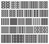 Set of 26 monochrome elegant seamless patterns.Vector ornaments. — Stock Vector