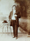 Vintage photo of young elegant man — Stock Photo