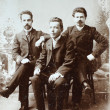 RUSSIAN EMPIRE - CIRCA 1910:Vintage photo shows three young friends. — Stock Photo