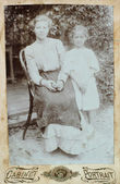 RUSSIAN EMPIRE - CIRCA 1915:Vintage family portrait. Mother and daughter. — Stock Photo