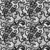Lace black seamless pattern with flowers — Stock Vector