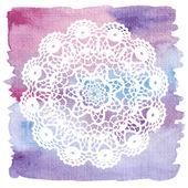 Elegant lacy doily. Crochet mandala. — Stock Vector