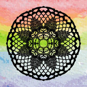 Lacy doily on colorful background — Vecteur