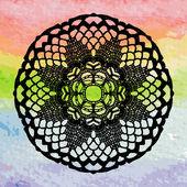 кружевная салфетка на красочный фон — Cтоковый вектор