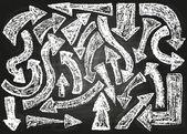 Arrows. Chalk on board — Stock Vector