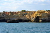 Caves cliffs yellow Albufeira in the Algarve — Stock Photo