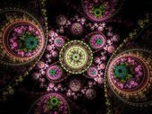 Colorful clockwork pattern, digital fractal art design — Stock Photo
