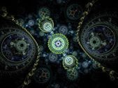 Colorful clockwork pattern, digital fractal art design — 图库照片