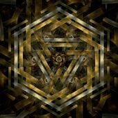 Abstract metal gold fractal hexagon in black background — Stock Photo